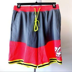 🆕 Puma LuXTG Basketball Shorts Neon Red Yellow